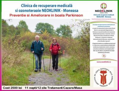 Program Recuperator in Boala Parkinson cost 2000 lei/11 nopti NeoKlinik Statiunea Moneasa