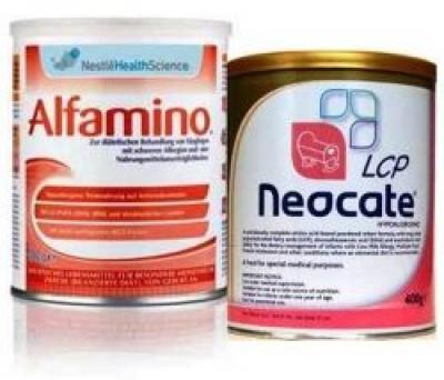 Alfamino si Neocate pentru alergii si intolerante alimentare la nou-nascuti si sugari